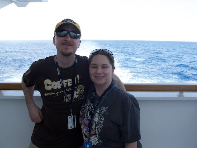 A friendly passenger took a picture of us at the back of the ship.