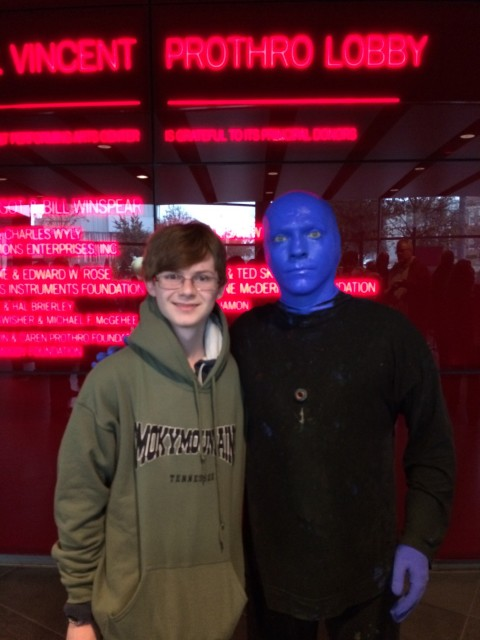 Reese hanging out with a member of Blue Man Group