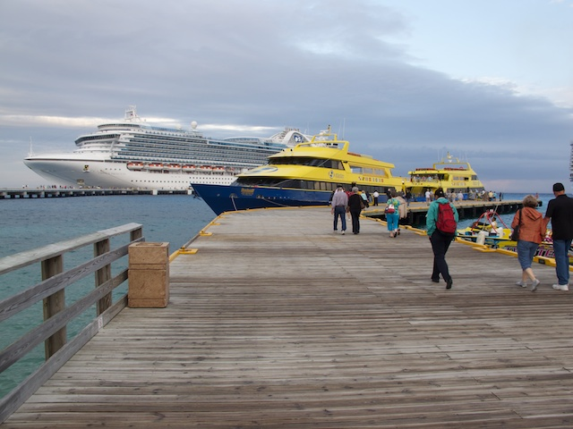 The Crown Princess and our Ferry from Cozumel to Playa del Carmen.